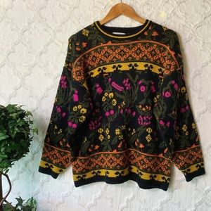 Vintage Chateau Colorful Floral Striped Sweater